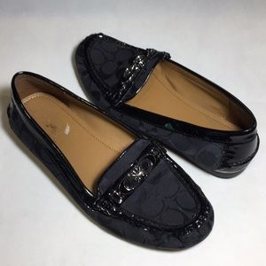 Coach Fortunata Black Driving Loafers Size 10